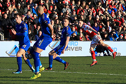 6th January 2018 - FA Cup - 3rd Round - Fleetwood Town v Leicester City - Ashley Hunter of Fleetwood shoots against the post in the dying seconds - Photo: Simon Stacpoole / Offside.