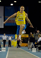 Photo: Jed Wee.<br /> Norwich Union International, Glasgow. 27/01/2007.<br /> <br /> Sweden's Christian Olsson takes the men's triple jump.