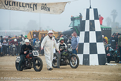 Steve Goushian (101) on his 1945 Harley-Davidson WL Flathead up against Daniel DeSourcey on his 1945 Harley-Davidson WL at TROG West - The Race of Gentlemen. Pismo Beach, CA, USA. Saturday October 15, 2016. Photography ©2016 Michael Lichter.
