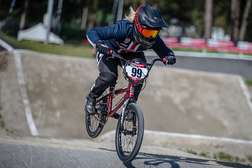 #99 (GEORGE Danielle) USA during practice at Round 5 of the 2018 UCI BMX Superscross World Cup in Zolder, Belgium
