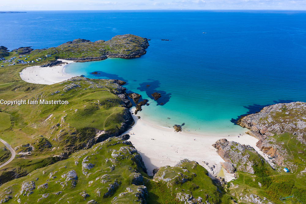 Aerial view of beaches at Achmelvich in Sutherland,  Highland Region of Scotland, UK