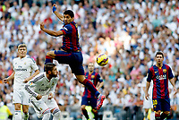 """Spanish  League""- match Real Madrid Vs FC Barcelona- season 2014-15 - Santiago Bernabeu Stadium - Sergio Ramos (Real Madrid) and Luis Suarez  (FC Barcelona) in action during the Spanish League match(Photo: Guillermo Martinez / Bohza Press / Alter Photos)"