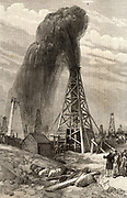 Baku oilfields in South Western Azerbaijan.  A 'gusher' spouting out a fountain of oil before it has been brought under control.  Engraving from 'The Illustrated London News' (London, 12 June 1886).