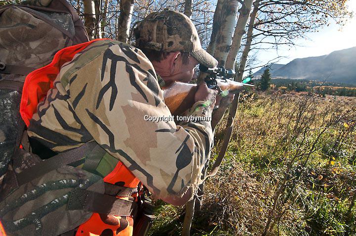 fall hunter in camo orenge and riffle full frame, close up of gun and hunter shooting rifle