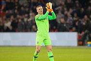 England goalkeeper Jordan Pickford applauds the fans after the Friendly match between Netherlands and England at the Amsterdam Arena, Amsterdam, Netherlands on 23 March 2018. Picture by Phil Duncan.