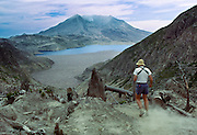 On the flanks of Mount Saint Helens, Spirit Lake was in 1985 still mostly covered with logs, which came from a formerly lush forest which was blasted and avalanched by the May 18, 1980 eruption. Mount Saint Helens National Volcanic Monument, Washington, USA.