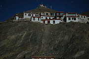 India, Ladakh region state of Jammu and Kashmir, Lamayaru, long exposure night shots of the exterior of the monastery