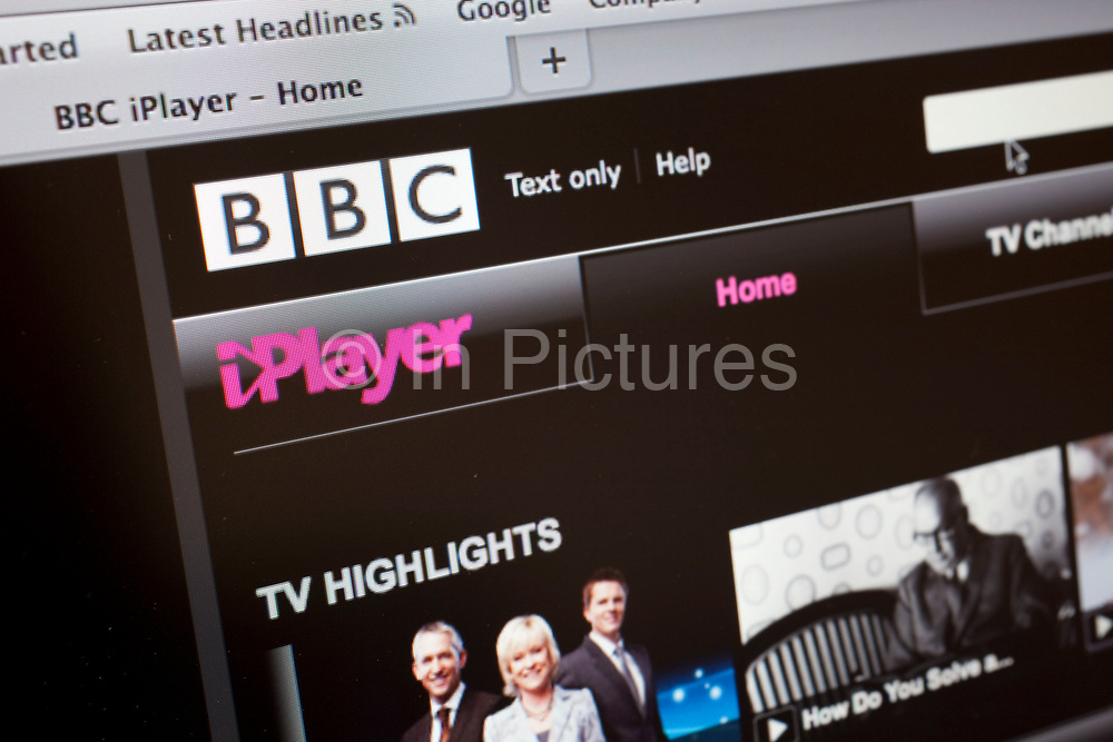 Computer screen showing the website for BBC i Player tv service