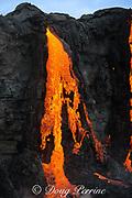 red hot lava from Kilauea Volcano enters the Pacific Ocean in Puna, Hawaii Island ( the Big Island ), west of Kalapana, Hawaiian Islands, U.S.A.