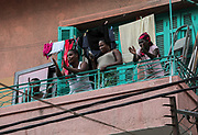 Onlookers join in, singing and dancing from their windows on Saturday, 12 Sep 2020 in Beirut, Lebanon. (VXP Pictures/ Matt Kynaston)