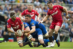 May 27, 2018 - Dublin, Ireland - Steven Cummins of Scarlets tackled by James Ryan and Jack Conan of Leinster during the Guinness PRO14 Final match between Leinster Rugby and Scarlets at Aviva Stadium in Dublin, Ireland on May 26, 2018  (Credit Image: © Andrew Surma/NurPhoto via ZUMA Press)