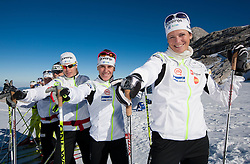 (from R) Katja Visnar, Barbara Jezersek, Vesna Fabjan, Mirjam Cossettini, Alenka Cebasek during Training camp of Slovenian Cross country Ski team on October 23, 2012 in Dachstein Getscher, Austria. (Photo By Vid Ponikvar / Sportida)