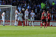 Cardiff city's Craig Noone (no16 far r) scores his goal from a free kick to make it 1-1. NPower championship, Cardiff city v Bolton Wanderers at the Cardiff city Stadium in Cardiff, South Wales on Saturday 27th April 2013. pic by Andrew Orchard,  Andrew Orchard sports photography,
