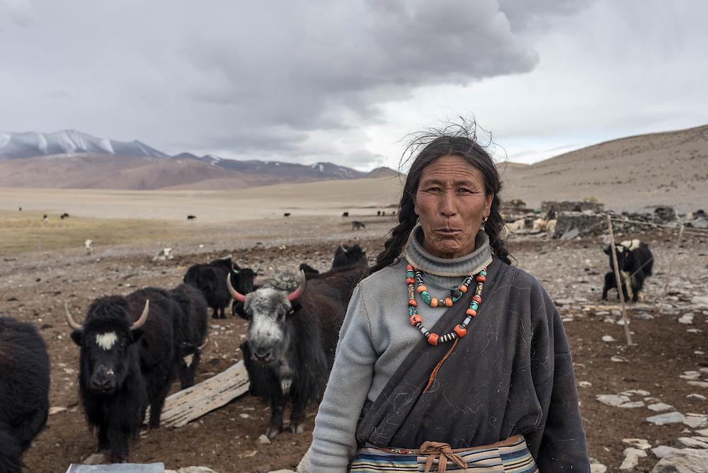 A Tibetan nomad woman near Tso Kar lake, Ladakh