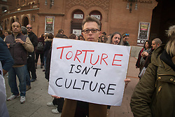 November 17, 2018 - Madrid, Spain - Protester seen carrying a placard during the demonstration against bullfighting. Anti-bullfighting protest in the emblematic bullring of Las Ventas in Madrid for the end of bullfighting and the suffering of animals. (Credit Image: © Lito Lizana/SOPA Images via ZUMA Wire)