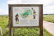 Information board about the English Civil war Battle of Roundway Down in 1643 , near Devizes, Wiltshire, England