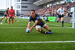 Josh Adams of Worcester Warriors scores his third try - Mandatory by-line: Craig Thomas/JMP - 13/04/2019 - RUGBY - Sixways Stadium - Worcester, England - Worcester Warriors v Sale Sharks - Gallagher Premiership Rugby