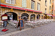 Restaurant in old town Vieux Lyon, France (UNESCO World Heritage Site)