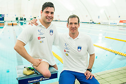 Darko Đurić, Slovenian paralympic swimmer with his coach Alen Kramar during Media day of the National Paralympic Committee (NPC) of Slovenia, on April 26, 2016 in Olympic pool Radovljica, Slovenia. Photo by Vid Ponikvar / Sportida