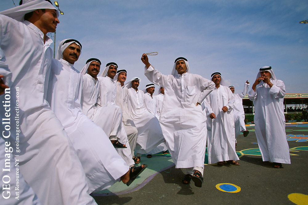 Dervishes, who ascribe to Sufism, a form of Islamic mysticism, incorporate trancelike dances into their rituals performed at celebrations.  Saddam Hussein's 62nd birthday celebration in Tikrit, Iraq.
