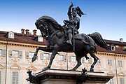 Turin, Piedmont, Italy. The bronze equestrian monument depicting the Prince of Savoy Emanuele Filiberto  in the central San Carlo square.