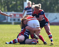 Kayleigh Armstrong of Bristol Ladies tackles a Saracens Women player - Mandatory by-line: Paul Knight/JMP - 09/04/2017 - RUGBY - Cleve RFC - Bristol, England - Bristol Ladies v Saracens Women - RFU Women's Premiership Play-off Semi-Final