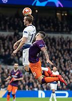 Football - 2018 / 2019 UEFA Champions League - Quarter Final , First Leg: Tottenham Hotspur vs. Manchester City<br /> <br /> Harry Kane (Tottenham FC)  rises high over Nicolas Otamendi (Manchester City) but can only glance his header at White Hart Lane Stadium.<br /> <br /> COLORSPORT/DANIEL BEARHAM