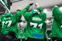 Miha Zajc of HK SZ Olimpija and players of HK SZ Olimpija celebrate after 3rd leg of ic hockey game between HK SZ Olimpija Ljubljana and Asiago Hockey in Final of Alps Hockey League 2020/21, on April 24, 2021 in Hala Tivoli, Ljubljana, Slovenia. Photo by Matic Klansek Velej / Sportida
