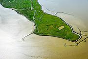 Nederland, Groningen, Reider Buitenland, 05-08-2014; Punt van Reide, schiereiland in zeearm de Dollard, onderdeel van de monding van de Eems. In het verleden liep kustlijn hier door naar Duitsland. <br /> Point of Reide, peninsula in the mouth of the Dollard, part of the Ems). In the past the coastline continued from here to Germany.<br /> luchtfoto (toeslag op standard tarieven);<br /> aerial photo (additional fee required);<br /> copyright foto/photo Siebe Swart