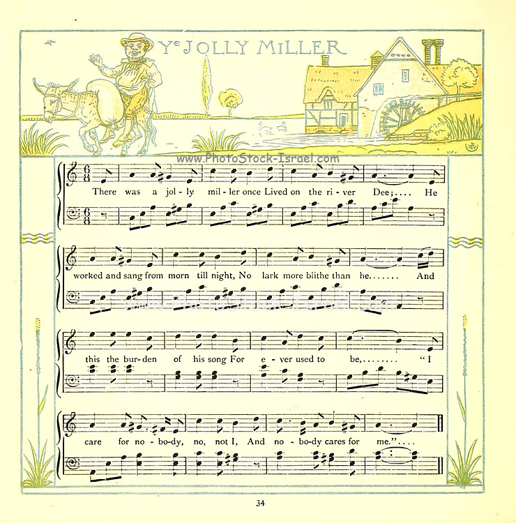 Jolly Miller From the Book '  The baby's opera : a book of old rhymes, with new dresses by Walter Crane, and Edmund Evans Publishes in London and New York by F. Warne and co. in 1900