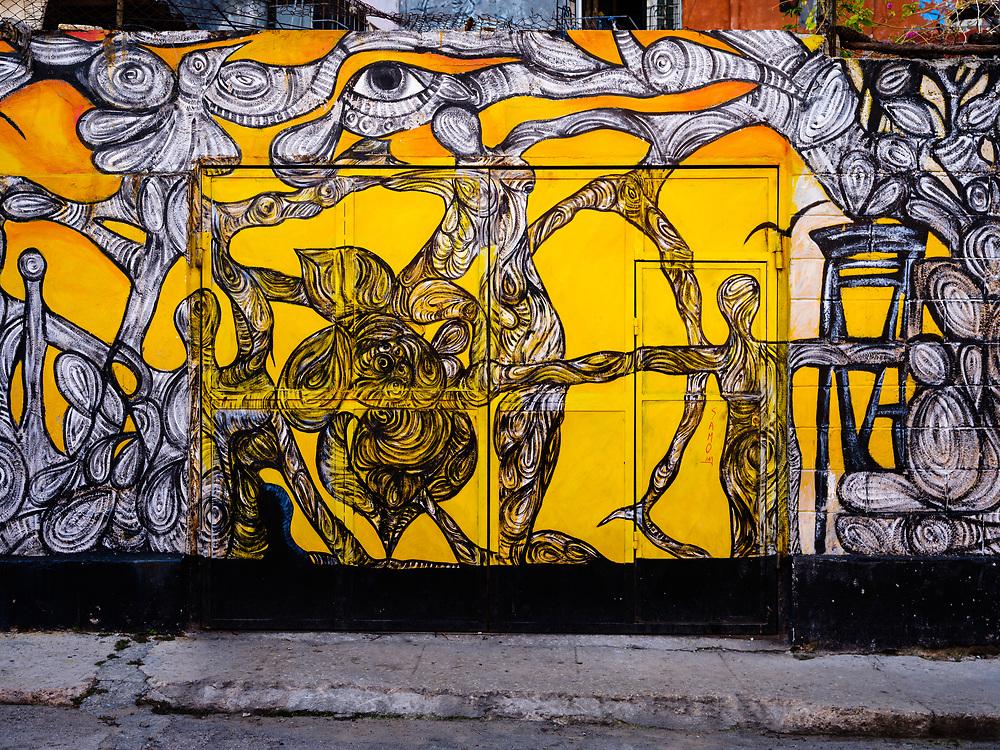 HAVANA, CUBA - CIRCA MARCH 2017: Graffiti art in the Callejon of Hamel a popular tourist attraction in Havana