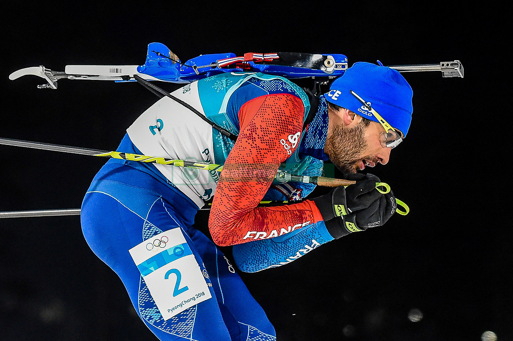 February 18, 2018 - Pyeongchang, Gangwon, South Korea - Martin Fourcade of France competing in  15 km mass start biathlon at Alpensia Biathlon Centre, Pyeongchang,  South Korea on February 18, 2018. (Credit Image: © Ulrik Pedersen/NurPhoto via ZUMA Press)