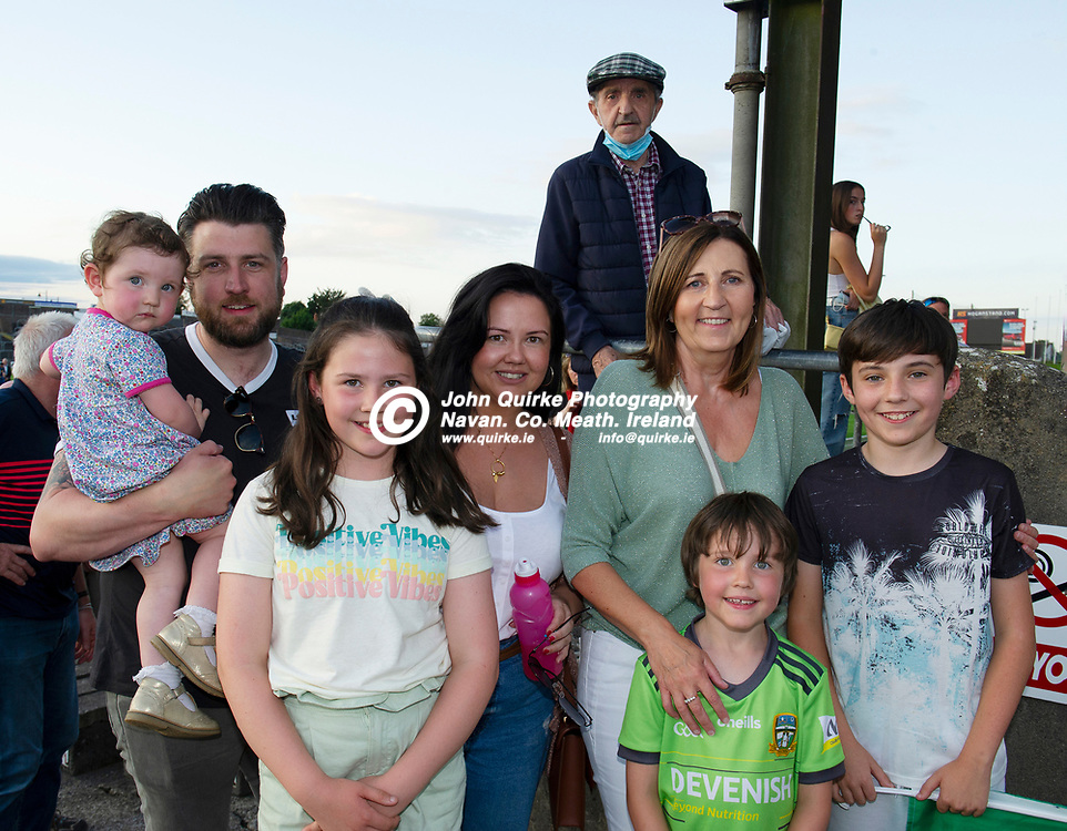 15-07-21. Meath v Dublin - Eirgrid Leinster U-20 Football Championship Semi-Final at Pairc Tailteann, Navan.<br />Meath supporters from left, Hannah McDonagh, Gary McDonagh, Hollie McDonagh, Gina McDonagh, Jackie Brennan, Ben McDonagh (Front) and Darragh Brennan (Back is Desmond McDonagh) all from Dunderry.<br />Photo: John Quirke / www.quirke.ie<br />©John Quirke Photography, 16 Proudstown Road, Navan. Co. Meath. (info@quirke.ie / 046-9028461 / 087-2579454).