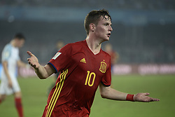 October 28, 2017 - Kolkata, West Bengal, India - Spain Segio Gomez (jersey 10) celebrates Spain goal the FIFA U 17 World Cup India 2017 Final match in Kolkata. Player of England and Spain in action during the FIFA U 17 World Cup India 2017 Final match on October 28, 2017 in Kolkata. England wins FIFA U 17 World Cup 5 - 2 goals against Spain. (Credit Image: © Saikat Paul/Pacific Press via ZUMA Wire)