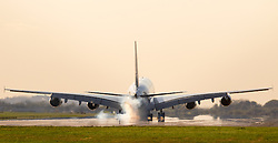 An Airbus A380 lands at London's Heathrow Airport (LHR / EGLL).