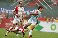 Action from the 2008-2009 opening event in the IRB World sevens series, the Emirates Airline Dubai Sevens 2008 tournament at the new Sevens Stadium in Dubai on 28th/29th November 2008. Argentina v England