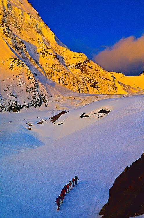 Climbing Tiefmatten Glacier to Col de Valpelline, Haute Route, Switzerland