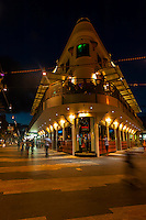 The Corso, pedestrian street in Manly Beach at night, Sydney, New South Wales, Australia
