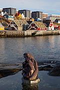 "A statue at the old harbour in Nuuk, Greenland of Arnakuagsak , or Sassuma arnaa, also known as Sedna, the goddess of the sea in Inuit culture. By artist  Christian ""Nuunu"" Rosing."