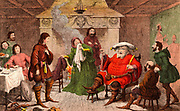 Falstaff, Prince Hal, and their cronies at the Boar's Head Tavern, Eastcheap, Falstaff playing being the King. 'Henry IV Part I' Act II. Scene IV. Illustration of 1856-1858 by George Cruickshank (1792-1878) for 'Henry IV Part I' historical play by William Shakespeare written c1597. Chromolithograph.