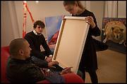 JAMES FRANCO; ANDREA-LUCA MINA; ANNA KOORIS, James Franco exhibition 'Fat Squirrel' at Siegfried Contemporary, Basset Rd, London W10. 23 November 2014.