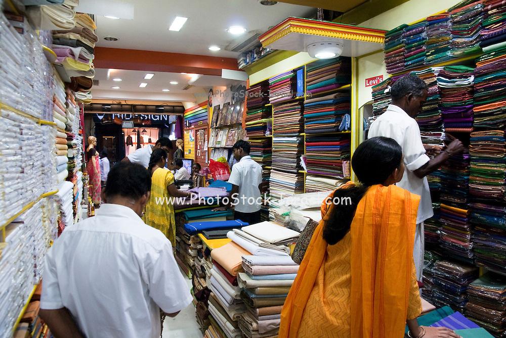 India, Tamil Nadu, pondicherry, Interior of a material shop