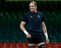 Alun Wyn Jones of Wales<br /> <br /> Photographer Simon King/Replay Images<br /> <br /> Six Nations Round 5 - Wales v Ireland Captains Run - Saturday 15th March 2019 - Principality Stadium - Cardiff<br /> <br /> World Copyright © Replay Images . All rights reserved. info@replayimages.co.uk - http://replayimages.co.uk