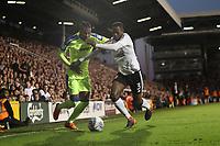 LONDON, ENGLAND - MAY 14:LONDON, ENGLAND - MAY 14:Derby's Kasey Palmer tries go get past Fulham's Aboubakar Kamara