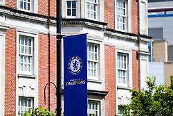 Champion banner outside the stadium to celebrate Chelsea's 2016/17 Premier League win - Rogan Thomson/JMP - 21/05/2017 - FOOTBALL - Stamford Bridge - London, England - Chelsea v Sunderland - Premier League..