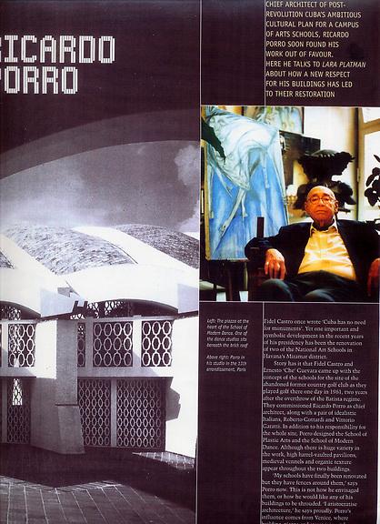 Artist Links - Lara Platman BLUEPRINT magazine, for Ricardo Porro Article, Words and Portrait by LARA PLATMAN