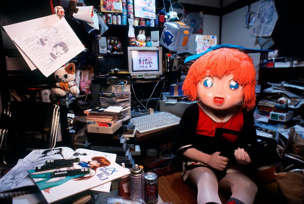 "TOKYO, JAPAN --- August 1999:  Otaku ""Rummy"" (web name) in costume of Manga characters. --- Photo by Tom Wagner/Corbis SABA"