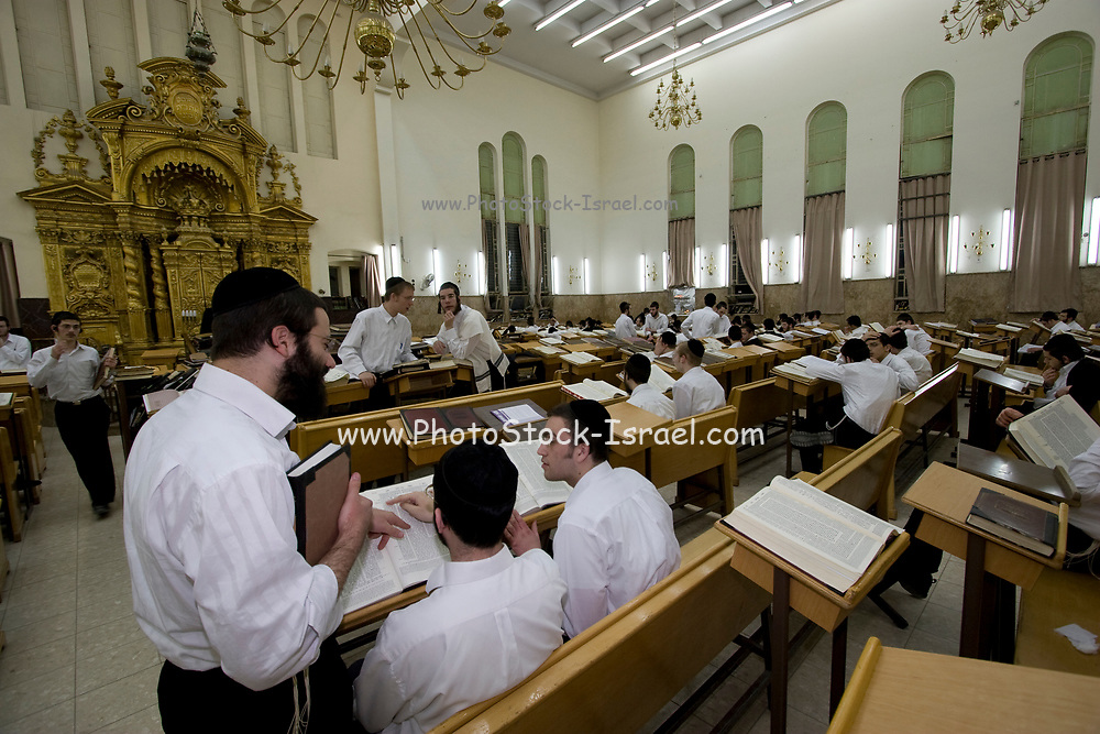 Israel, Coastal Plains, Bnei Brak Hanukkah service at a Synagogue
