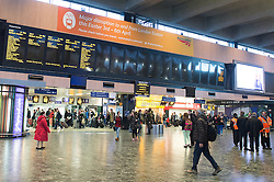 © London News Pictures. 03/04/15. London, UK. Departures boards at Euston Station only show trains leaving for Watford, central London. There is a limited train service coming into and leaving Euston Station as a result of planned engineering works. Photo credit: Laura Lean/LNP