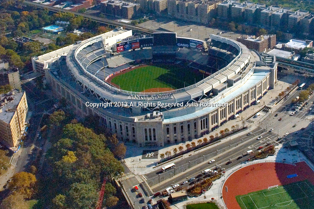 Aerial view of the new Yankee Stadium as seen on Oct. 22, 2009 .Grounds crew preparing field for ALCS Game on 10/26/09.  (AP Photo/Julia Robertson)